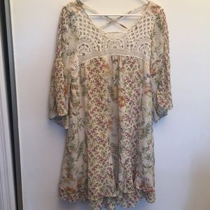 Free People boho floral dress w crocheted neck